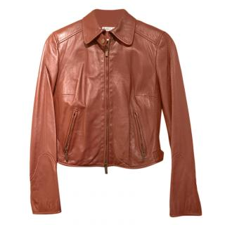 Marella Burgundy Leather Jacket