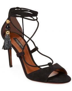Dolce & Gabbana Runway Suede Pom Pom Sandals