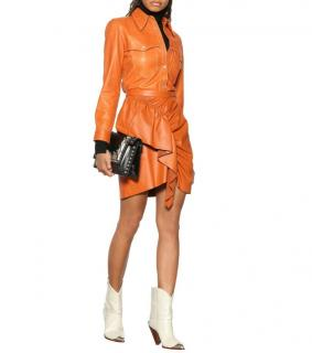 Isabel Marant Runway Leather Nela Ruffled Skirt