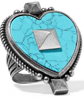 Valentino Burnished Silver-tone Enamel Heart Ring