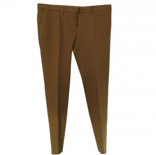 Isaia Napoli Burnt Yellow Cotton Men's Chinos