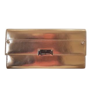 Jimmy Choo Gold Leather Reese Clutch