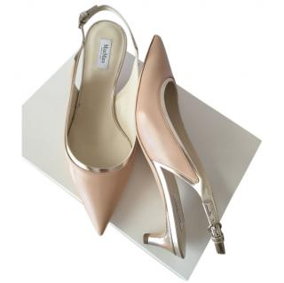 Max Mara Poudre Slingback Sandals with Gold Trim