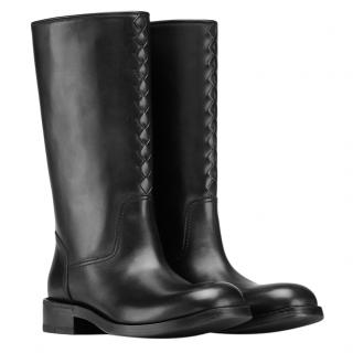 Bottega Veneta Jungle Calf Leather Black Intrecciato Boots