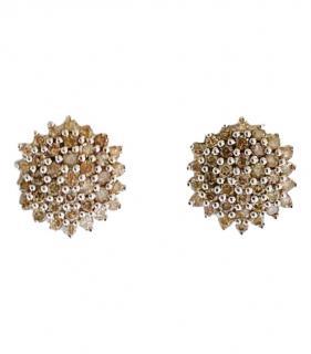 Bespoke Chocolate Diamond White Gold Cluster Earrings