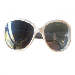 Chanel Oversize Round Sunglasses with Denim Arms