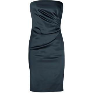 Alberta Ferretti Black Satin Ruched Strapless Dress