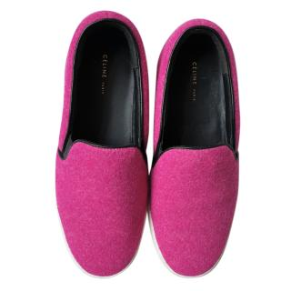 Celine Fuchsia Felt Slip-on Sneakers