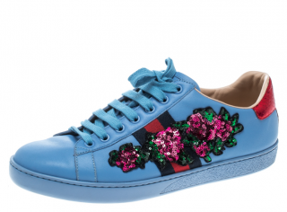 Gucci Blue Leather Web Floral Embellished Ace Sneakers