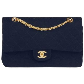 Chanel Navy Medium Jersey Double Flap Bag
