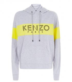 Kenzo Grey & Yellow Logo Stripe Hoodie