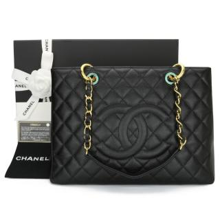 Chanel Black Caviar Leather Grand Shopping Tote