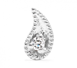 Maria Tash 14ct white gold threaded paisley stud