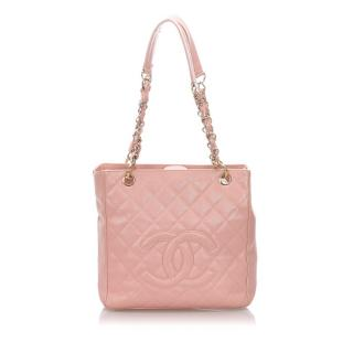 Chanel Caviar Leather Pink Petite Shopping Tote