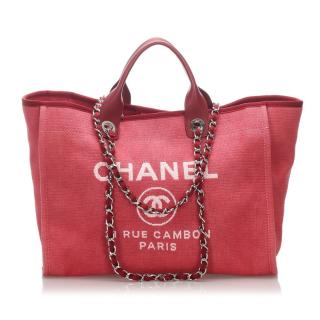 Chanel Red Deauville Canvas Tote Bag
