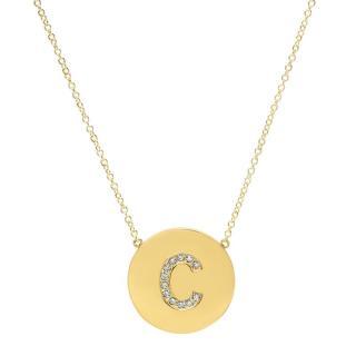 Jennifer Meyer Diamond Letter Disc Necklace - C