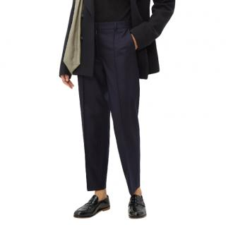 Officine Generale Roxanne Felted-wool Straight-leg Trousers In Navy