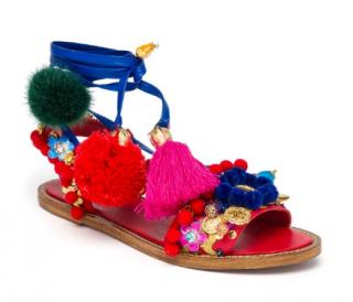 Dolce & Gabbana Pom Pom Wrap Around Sandals