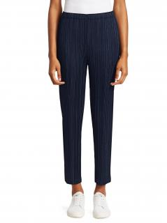 Pleats Please Issey Miyake Navy Pleated Straight Trousers