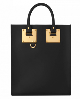 Sophie Hulme Black Leather Albion Tote Bag