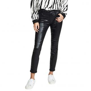 Frame Black Croc Embossed Jeans