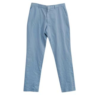 Burberry baby blue cotton trousers