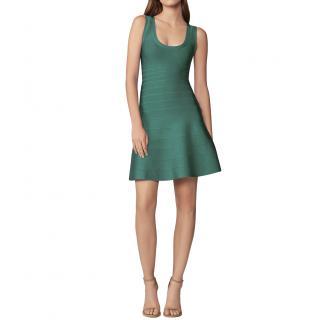 Herve Leger Green Fit & Flare Bandage Dress