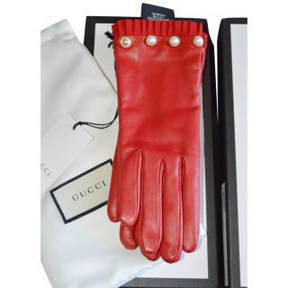 Gucci Red Leather Faux Pearl Embellished Gloves