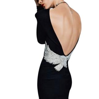 Balmain Jersey Low Back Crystal Embellished Dress