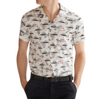 Percival Cuban Collar Fuji Hokusai Short Sleeve Shirt