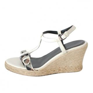 Burberry Check Wedge Espadrille Sandals