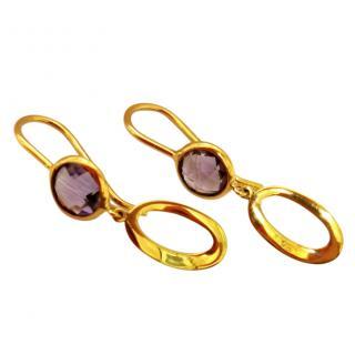 Bespoke Yellow Gold Amethyst Drop Earrings
