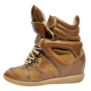 Isabel Marant Brown Leather Wedge Sneakers