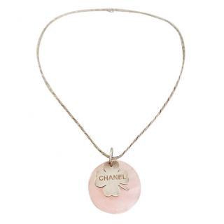 Chanel Rose Quartz & Sterling Silver Necklace