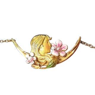 Bespoke Art Nouveau Maidens Head Pendant Necklace