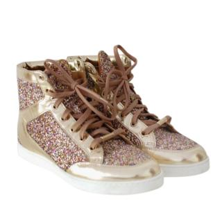 Jimmy Choo Gold Multicoloured Glitter Sneakers