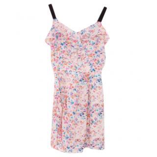 Sandro Pink Floral Print Silk Dress