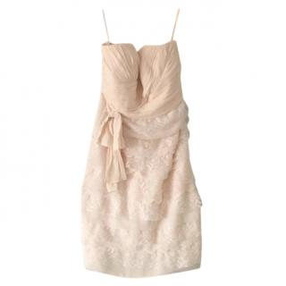 Badgley Mischka Nude Lace Detailed Dress
