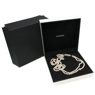 Chanel Gold Pearl Necklace with Diamond Camellia