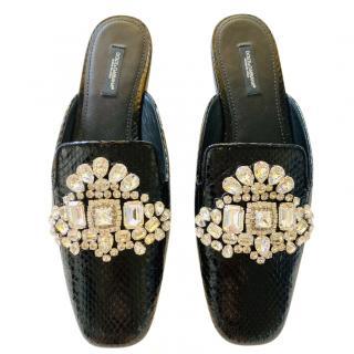 Dolce & Gabbana Crystal Embellished Lizard Mules