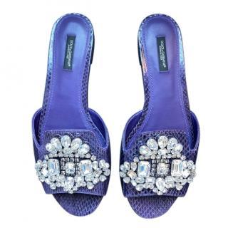 Dolce & Gabbana Purple Iguana Print Crystal Slides