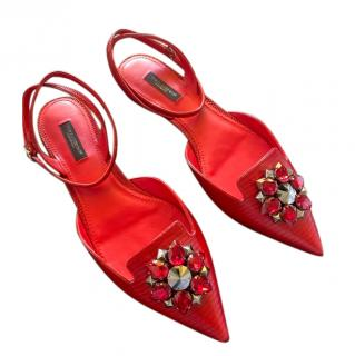 Dolce & Gabbana Red lizard print crystal embellished sandals