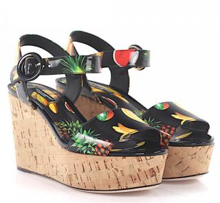 Dolce & Gabbana Black Patent Fruit Print Wedge Sandals