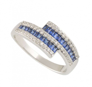 Bespoke White Gold Diamond and Sapphire Ring
