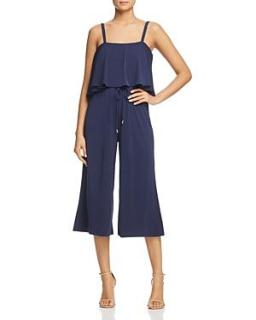 Michael Michael Kors Ruffle Overlay Cropped Jumpsuit In True Navy