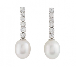 Bespoke White Gold Diamond and Pearl Drop Earrings
