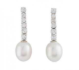 Bespoke White Gold Diamond and Pearl Drop Earrings