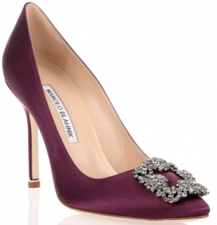 Manolo Blahnik Purple Hangisi 70mm Satin Pumps