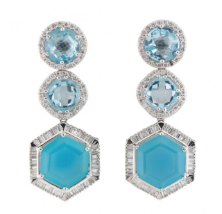 Bespoke White Gold Diamond and Topaz Earrings