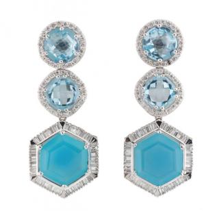Bespoke White Gold Diamond and Topaz Earrings